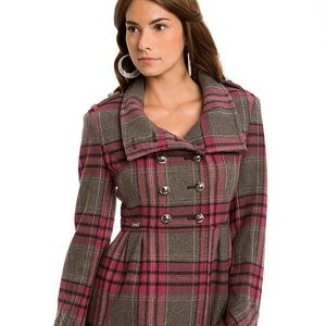 G by Guess Plaid Wool Double Breast Coat Size M